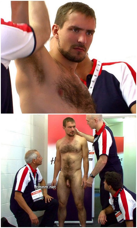 Hairy Athletic Lad's Body Gets Checked By Men