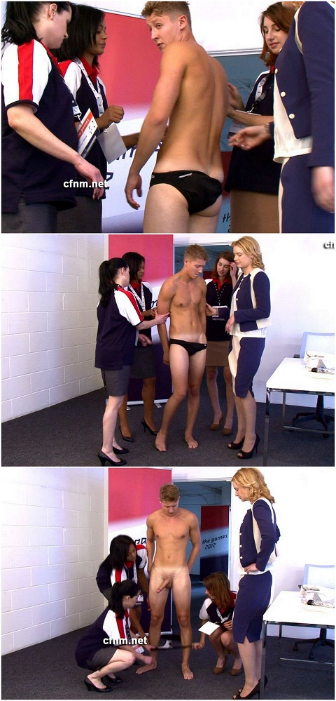 Swimming Athlete John Gets Inspected By Women
