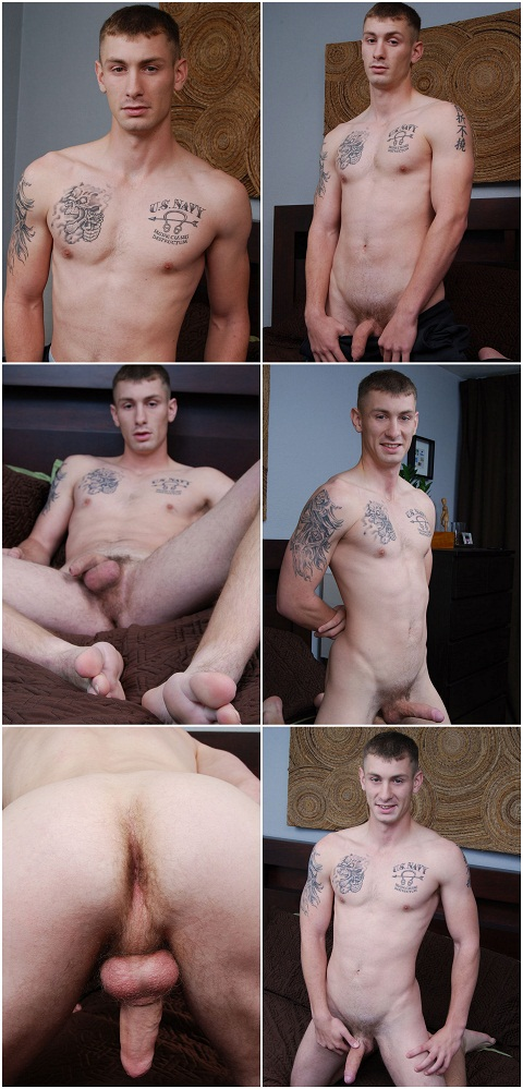 Tattooed Ethan Wanks His Large Uncut Tool